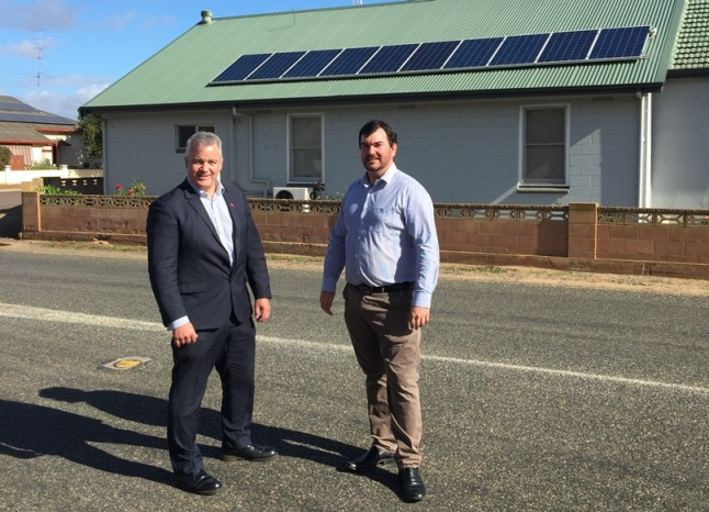 RDAWEP Ecomonic Development Manager Peter Scott with EPLGA President and Tumby Bay Mayor Sam Telfer.